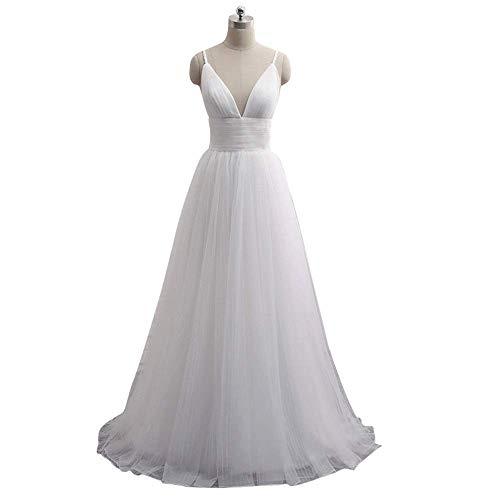 Dresses Women's V-Neck Wedding Dress Short Sleeves Long Evening Lace a Line Wedding Dress for Women for Wedding, LIFU, White, 16