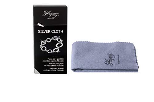 Hagerty - Silver Cloth - Gamuza impregnada limpia joyas de plata y piezas plateadas o chapadas - 1 unidad 36 x 30 cm - Devuelve el brillo y la protección extra