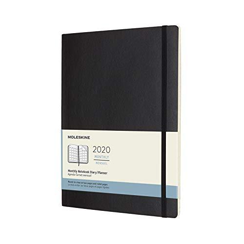Moleskine Monats Notizkalender, Taschenkalender, 12 Monate, 2020, Xlarge, Soft Cover, Schwarz