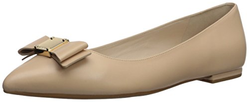 Cole Haan Women's TALI Bow Skimmer Ballet Flat, Nude Leather, 9.5 B US