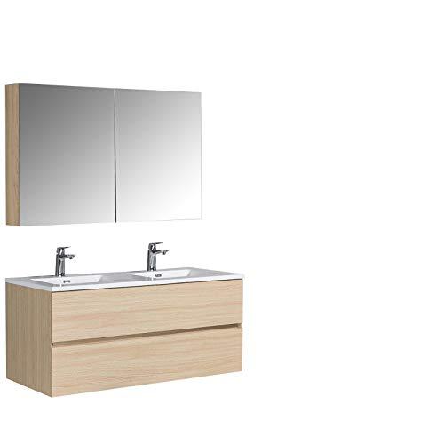 Ensemble pour salle de bain EDGE 1200 - Meubles de bain de couleur:Effet chêne naturel, Lavabos:Blanc brillant, Avec armoire de toilette...