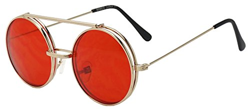 Sunglass Stop Anteojos de sol de metal redondos estilo bohemio retro con espejo de color transparente, Rojo (Oro | Rojo), Talla única