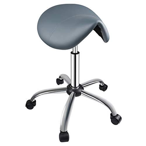 Kalolary Taburete de sillín Gris, sillón Giratorio Ajustable, Asiento Giratorio de Cuero de PVC para salón de Belleza, SPA, Oficina