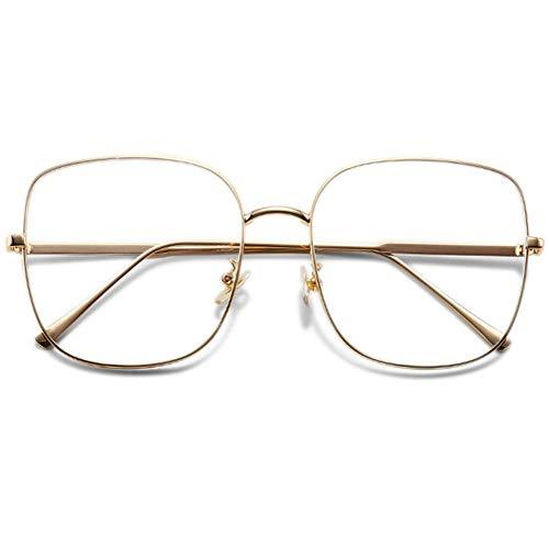 VEVESMUNDO Brillen Blaulichtfilter Ohne Sehstärke Computerbrille Brillenfassung Groß Metall Retro Vintage Anti Müdigkeit Dekobrillen für Damen Herren (Gold/Anti Blaulicht Brille)