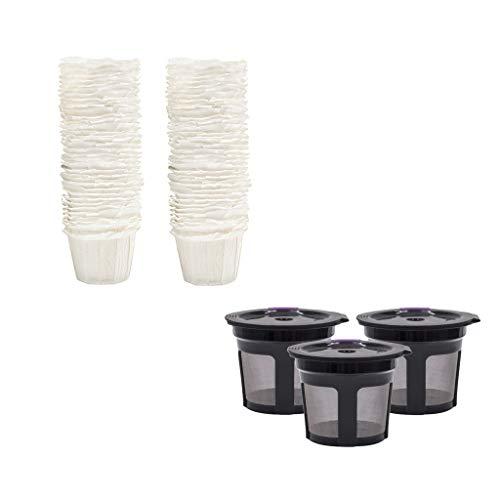 N\C 3 Piezas Reutilizables K Cups 100-pack Café Filtro de Papel Desechable para