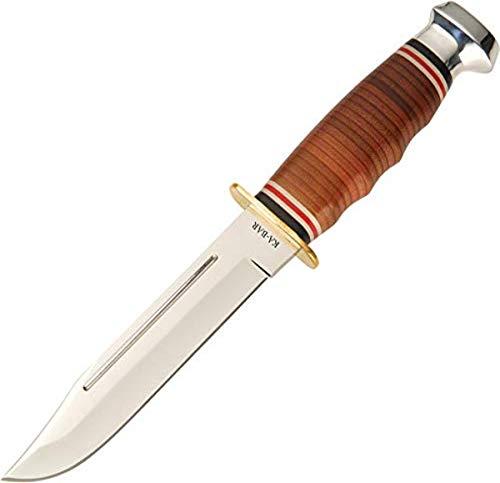 Ka Bar 2-1235-2 Leather Handled Marine Hunter Knife,brown,Medium