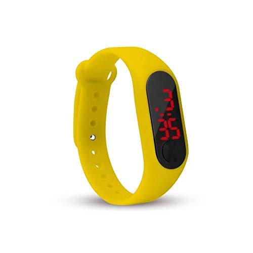 BDM Reloj de Pulsera Digital para niño y niña de Color Amarillo, un Regalo Original.