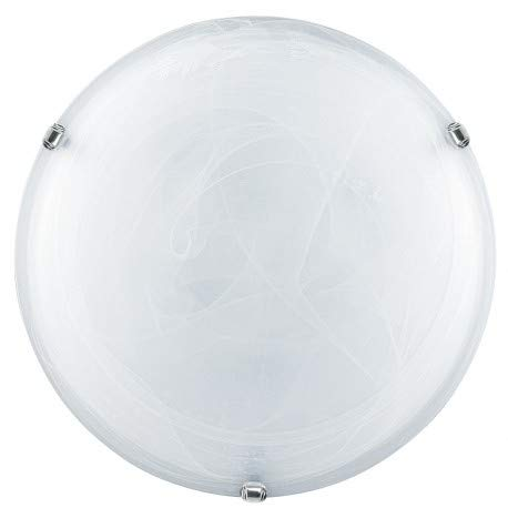 E-Led plafondlamp MADE IN ITALY E27 MAX 57W LED compatibel glas alabaster en metaal kleur