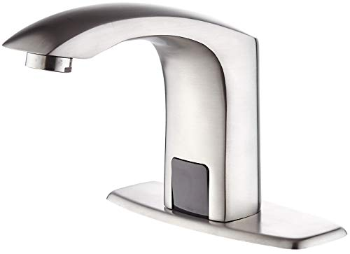 Luxice Sensor Automatic Touchless Bathroom Sink Faucet Hot & Cold Mixer Cover Plate Included Faucet, Brushed Nickel