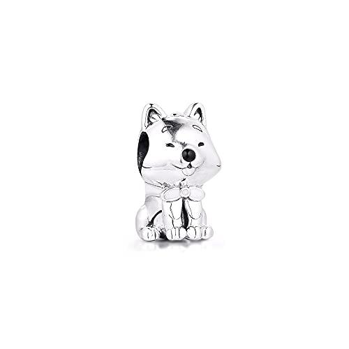 LIIHVYI Pandora Charms para Mujeres Cuentas Plata De Ley 925 Perro Japonés Akita Inu Compatible con Pulseras Europeos Collars