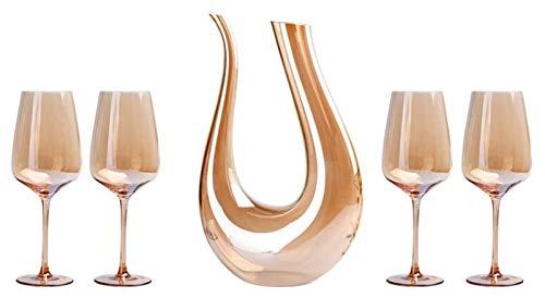 SoGuDio Decantador Decantador de aireador de Vino, Juego de Copa de Vino de Oro Incluye 1,5L Decantador y 4 Copas de Vino, Conjunto de oxigenación de Vino de Cristal 100%, Oro Decantador de Whisky