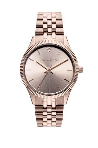 Paul Valentine Iconia Champagne - Reloj de pulsera para mujer, esfera metálica, cristal resistente a los arañazos, correa de acero inoxidable, reloj redondo para mujer, color champán, champán, 32mm,