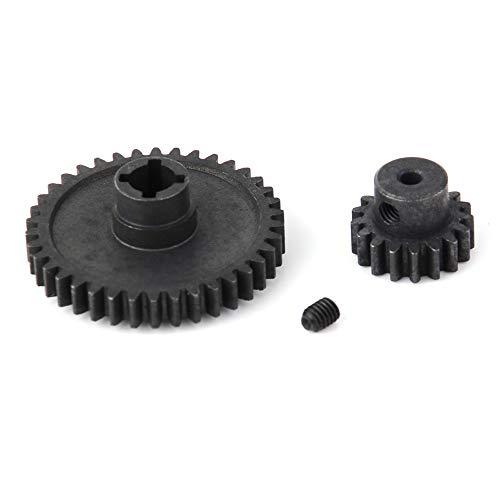 DollaTek - Juego de 2 engranajes principales de diferencial de metal 42T y engranaje de piñón de motor 27T para WLtoys A959-B A969-B A979-B K929-B 1/18 RC Car (Negro)