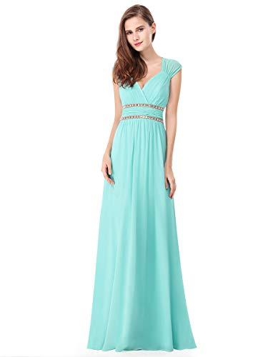 Ever-Pretty Womens Long Sleeveless V-Neck Simple Elegant Prom Dress 14 US Aqua