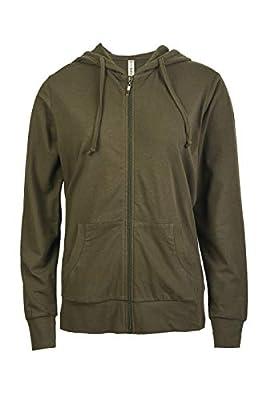 Women's Zip Up Cotton Light Hoodie Jacket (S, Olive)