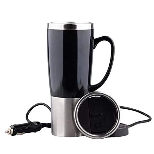 Copa de calefacción de automóviles, 12V 24V Coche montado en automóvil Taza de calefacción Copa térmica eléctrica Copa de trabajo automática Handy Pot Thermostat Bottle Coffee taza mei