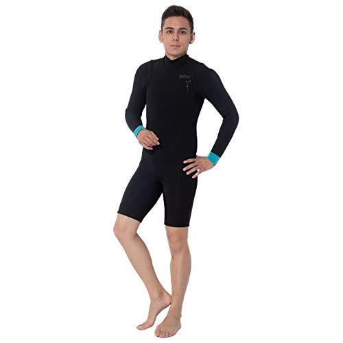 ウェットスーツ メンズ ロングスプリング 2.5mm FELLOW 男性用 ノンジップ チェストジップ ロンスプ サーフィン ウエットスーツ SUP 日本規格 (blaze_black, ML)
