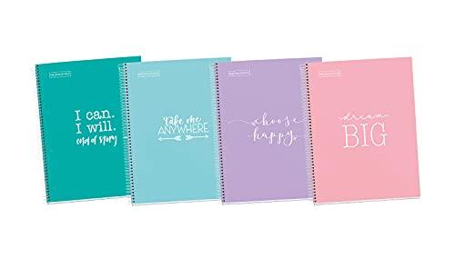 Miquelrius - Pack 4 Cuadernos A4 Cuadriculados Messages, Espiral Microperforado, Cubierta de Cartón Forrado, Tamaño 210 x 297 mm, 4 Taladros, 80 Hojas de 90 g, Cuadrícula de 5 x 5 m, Frases