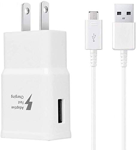 Adaptive Fast Charger Kit Compatible Samsung Tablet Phone Galaxy S6/ S7/ Edge/Plus/Active /A6 J7 J3 /Note 5 /Note 4, USB 2.0 Fast Wall Charger Adapter and Micro USB Cable
