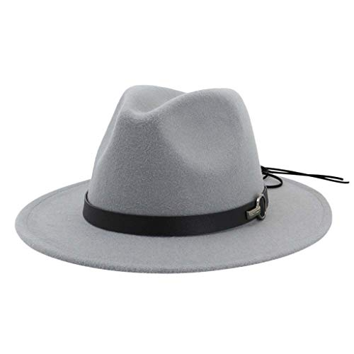 Nyuiuo Fashion Wide Brim Jazz Filzhut Cap Woolen Männer Frauen Wide Brim Fedora Hut Unisex Church Hat Fascinator Trilby Hut aus Wolle Flacher Hut des Jazz Cowboyhut Jazz Church Cap