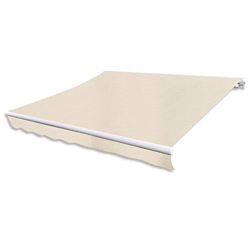 Cikonielf Toldo Rectangular de Lona, 3 x 2,5 M, sin armazón, Resistente a los Rayos UV, Toldo de Repuesto no se destiñe, Crema, para Patio, Terraza o Jardín