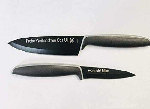 WMF Touch Messerset 2-teilig, Küchenmesser mit Schutzhülle, Spezialklingenstahl antihaftbeschichtet, Kochmesser, schwarz inkl. wunsch Gravur