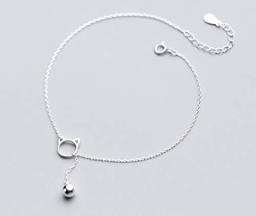 Echt product. 925 sterling zilver fijn sieraad katje open kat kat belletje enkelbandje geluksbrenger dieren