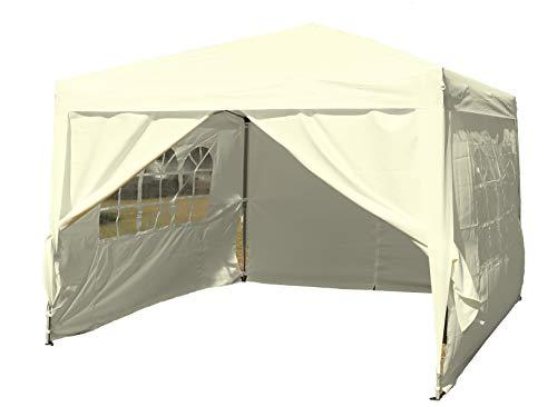 Kronenburg Faltpavillon wasserdicht Dachmaß 3 x 3 m UV Schutz 50+ Pavillon in Champagner mit 4 Seitenteilen