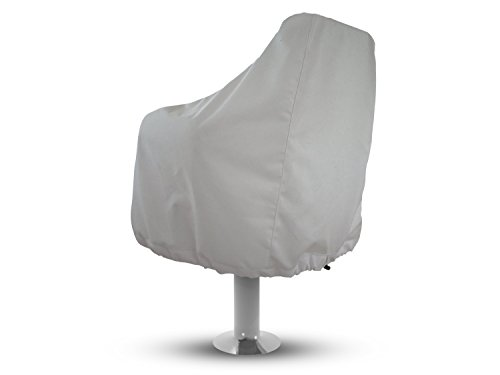 Boat Seat Cover - Weather-Resistant Marine Canvas, Fits Over The Chair and Armrest, Superior Fabric to Protect Captain's Chair from The Elements, Color White