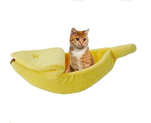 FA.cbj3 Cama de felpa para gatos y perros con forma de plátano, pequeña cama de interior para mascotas y perros, mullida y cómoda cama para cachorros, adecuada para gatos, conejos y perros