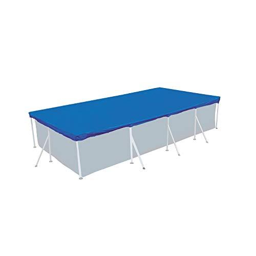 Poolabdeckung 350x250cm rechteckig für Frame Pool 300x200cm - mit Fixierseilen - 110g/m² PE - Wasserdicht - UV-stabil - Poolabdeckplane Stahlrahmenpool Cover Swimmingpool Poolzubehör Planschbecken