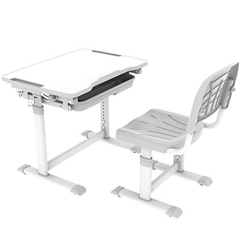 CUBBY Sorpresa Grey Kinderschreibtisch höhenverstellbar, Schülerschreibtisch neigungsverstellbar, Schreibtisch für Kinder mit Stuhl, Grau, 670x470x545-762 mm