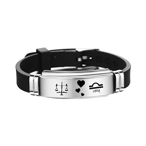 FENICAL constelaciones de libra pulsera del signo del zodiaco pulsera de brazalete de silicona de acero inoxidable ajustable regalo de joyería de cumpleaños