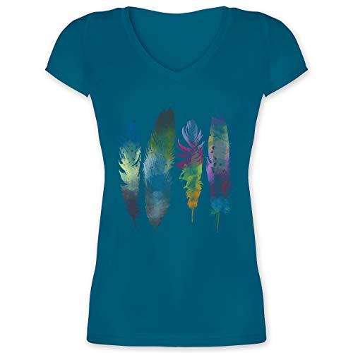 Kunst & Kreativität - Federn Wasserfarbe Watercolor Feathers - L - Türkis - t-Shirt+Damen mit sprüche - XO1525 - Damen T-Shirt mit V-Ausschnitt
