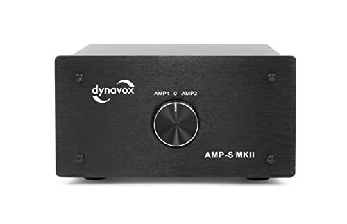 Dynavox AMP-S MKII, Verstärker- und Boxen-Umschalter in Metallgehäuse, für Stereo- und Surround-Verstärker, Verbindung über Bananenstecker oder Klemmanschluss, Schwarz