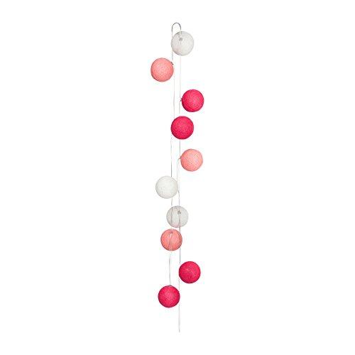 Sema 98556X10Lichterkette mit 10Kugeln, Stoff, rosa