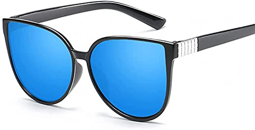 Ojo de gato Gafas de sol mujeres gafas señora lujo retro metal sol gafas mujer vintage espejo feminino Uv40, Blue,
