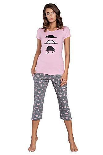 Italian Fashion Pyjama capri pour femme en coton deux pièces manches courtes sexy grandes tailles - - XX-Large