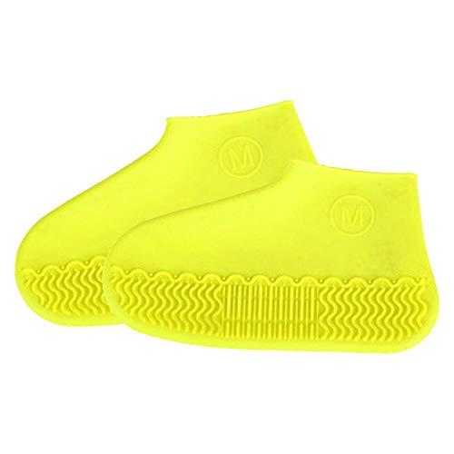 PINPOXE Silikon Wasserdichter Überschuhe Schuhüberzieher- Wiederverwendbare rutschfeste Überschuhe, Gelb, Gr.- L