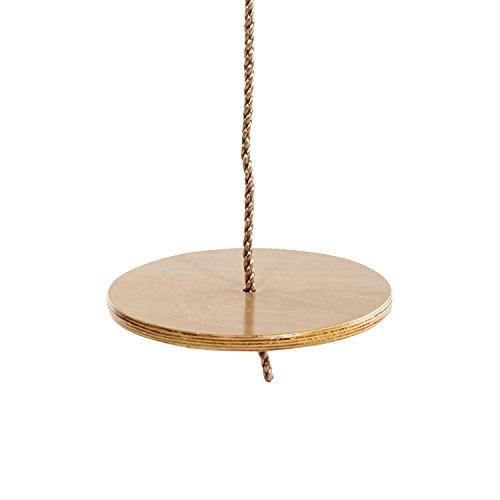 Columpio Grande de Disco de Madera Redondo con Cuerdas Ajustables