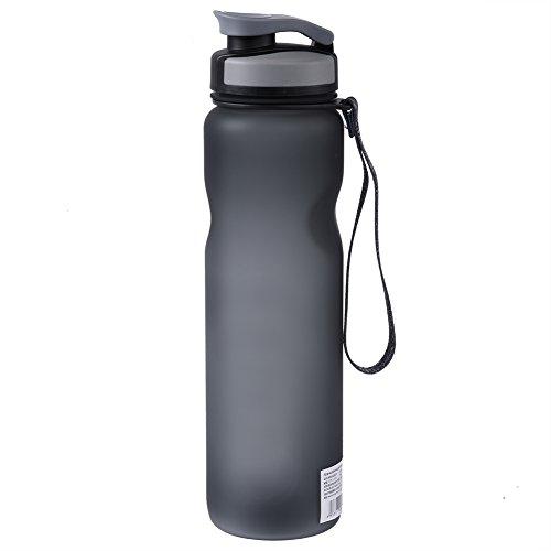 1L Botella de Agua Deportiva Potable de Gran Capacidad Prueba de Fugas con Correa Portátil con Aislamiento BPA Gratuito(Gris)