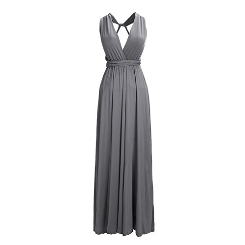 Frauen Sexy Lange Abendkleid Elegant V-Ausschnitt Bodenlangen Multi-Way Party Cocktailkleid Brautjungfer Kleider (S, Grau)