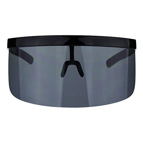 Mask Visor Welder Style Oversize Shield Flat Top Sunglasses All Black. Buy it now for 17.95