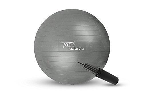 Tapefactory24 Gymnastikball inkl. Pumpe (Gewählte Variante: Grau, 75cm) - Hochwertiger Sitz- und Fitnessball von 55 cm bis 85 cm Durchmesser Größen erhältlich