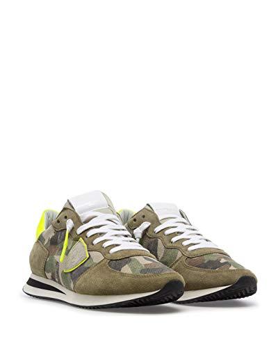 Philippe Model Herren Sneakers Paris TZLU CN02 Cam Neon Vert Wildleder Canvas