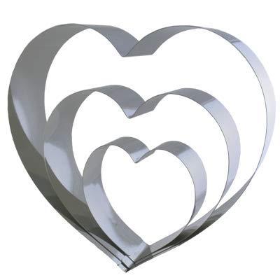 Lares - Backform/Backrahmen/Tortenring - aus Edelstahl - 3-teiliges Herzen-Set - 3 unterschiedlich große Herzen - Made in Germany