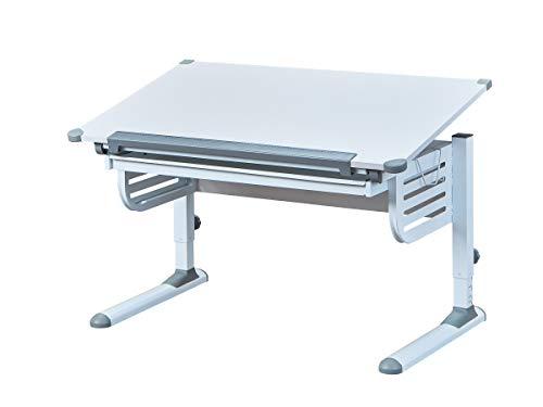Inter Link Schreibtisch Schülerschreibtisch ergonomisch mit Schublade aus Metall und MDF in Weiss und Grau, 110 x 68 x H 55 - 78 cm