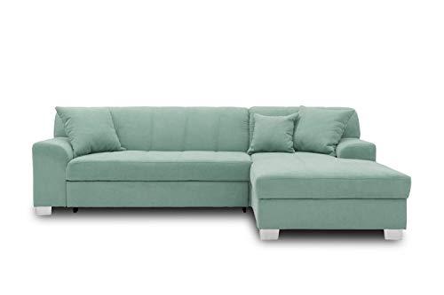 DOMO collection Capri Ecksofa   Eckcouch in L-Form mit Schlaffunktion, Polsterecke Schlafsofa, mint grün, 239x152x75 cm