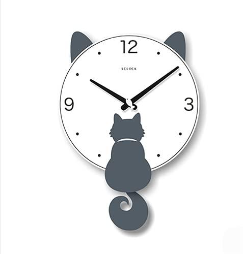 DIESZJ Reloj de Pared oscilante Simple para Sala de Estar, Reloj de Madera de Moda silencioso, Reloj de Pared de Dibujos Animados japoneses nórdicos, Gato Tridimensional