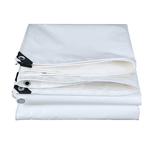 QIANGDA Bâche De Protection Paillage Imperméable Épaissir Toile À Baldaquin PVC Résistant À l'usure Surface Lisse (600g/m², Épaisseur 0.5mm) Plusieurs Tailles (Couleur : Blanc, Taille : 4.9 x 5.9m)